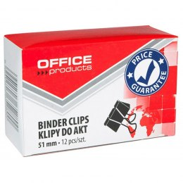 Klipy do dokumentów OFFICE PRODUCTS, 51 mm, 12 szt., czarne