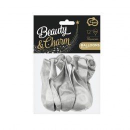 "Balony Beauty Charm metaliki srebrne 12"" (10 szt)"